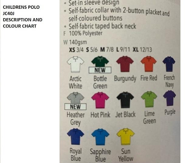 JC40J Colour Chart