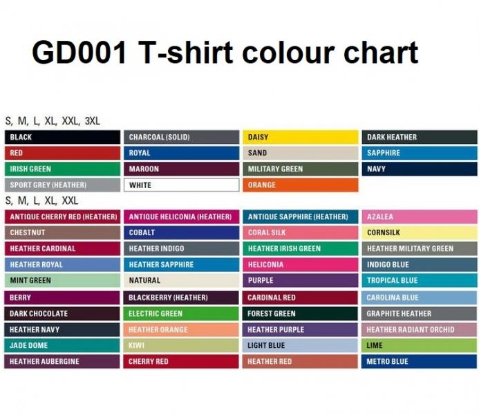 gd001 colour chart