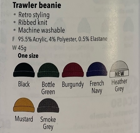 BC460 Colour Chart and description