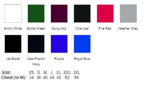 JH101 Colour Chart & Size